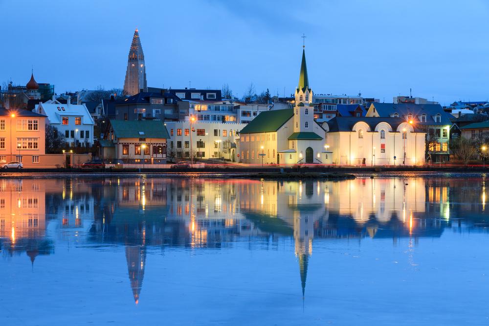 Reykjavik's Faxa Bay at Night