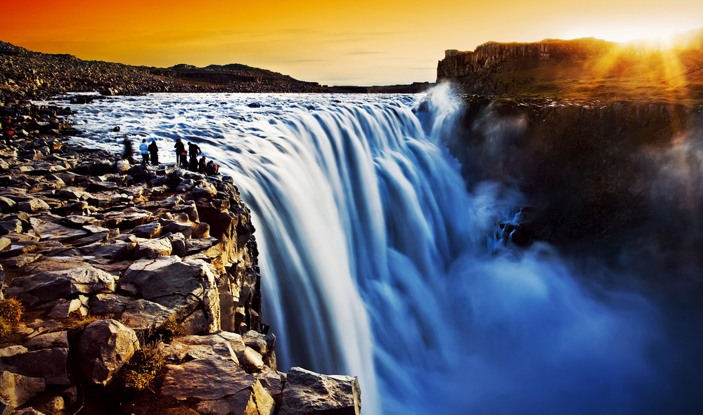 Dettifoss Waterfall in North Iceland at Sunset