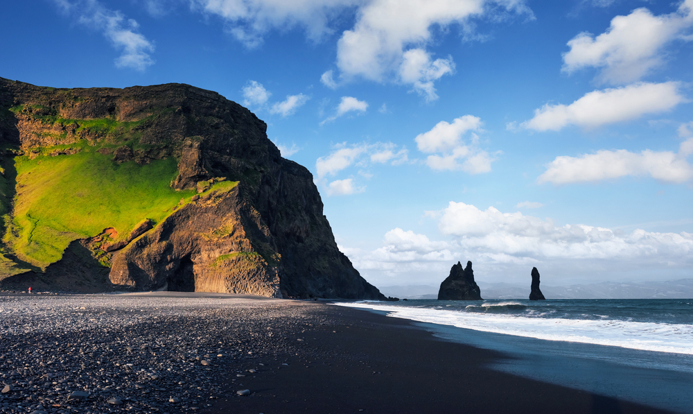 Volcanic black sand beaches near one of the best hotels in Vik, Iceland