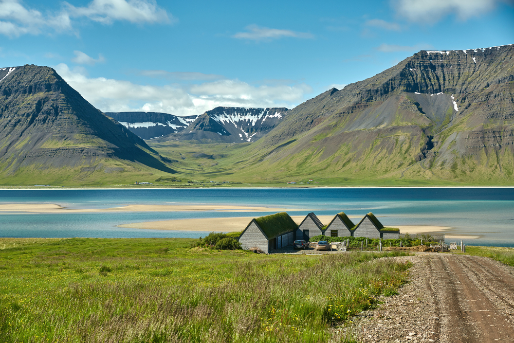 Quaint houses near a fjord in Iceland