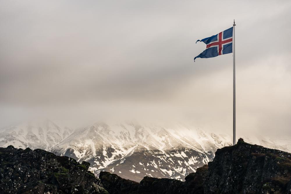 Icelandic flag marking location of Althingi in Thingvellir National Park