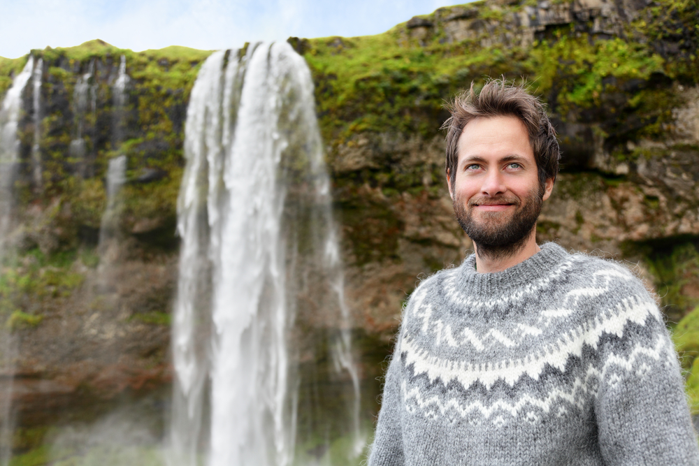 Icelandic man wearing typcial lopapeysa sweater