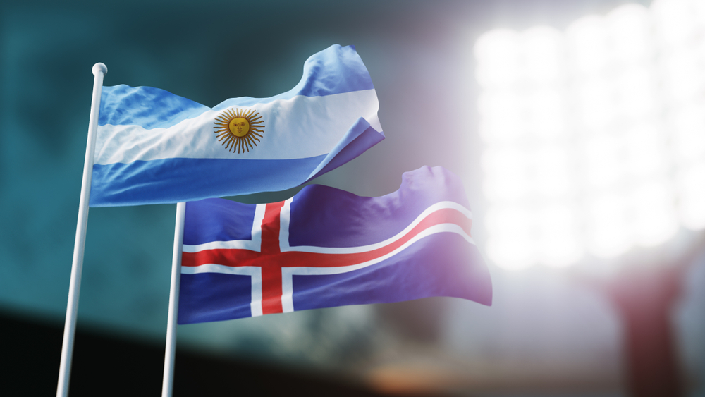Argentinian and Icelandic flags during World Cup game