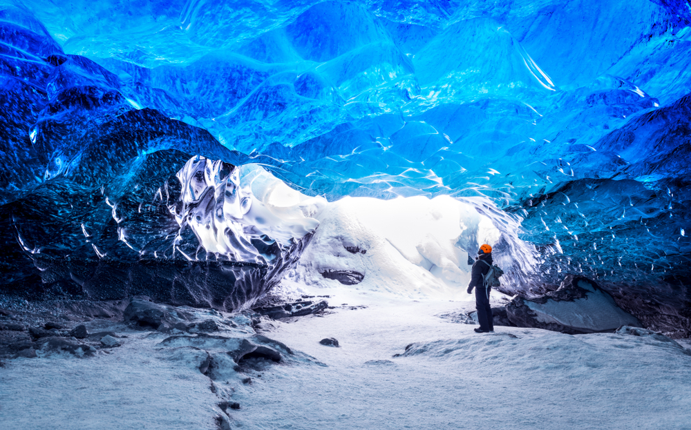 Hiking in a glacier cave in Iceland