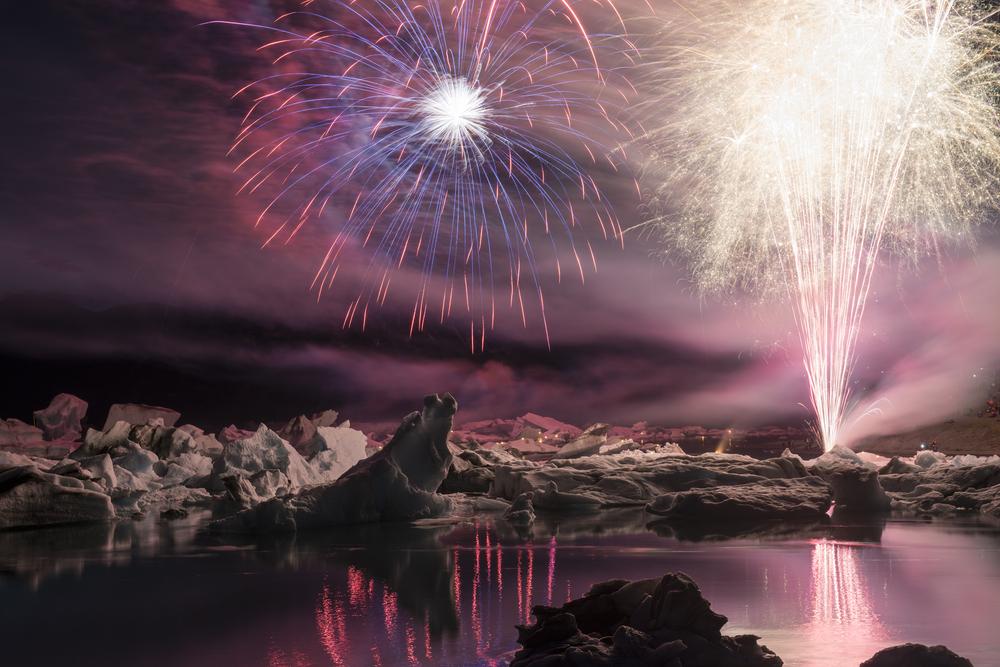 Summer fireworks display at Jökulsárlón Glacier Lagoon in August