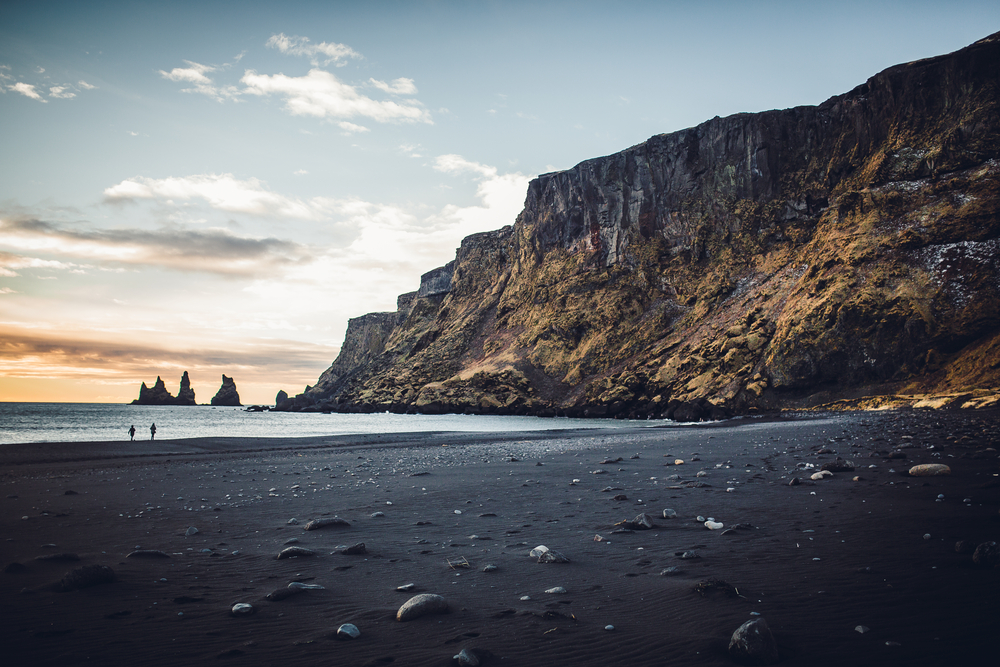 Vik's black sand beaches during sunset in August in Iceland