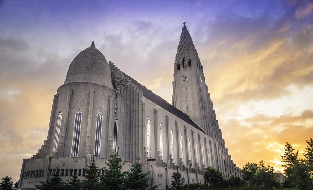 Hallgrímskirkja church in Reykjavik during Iceland's famous Midnight Sun