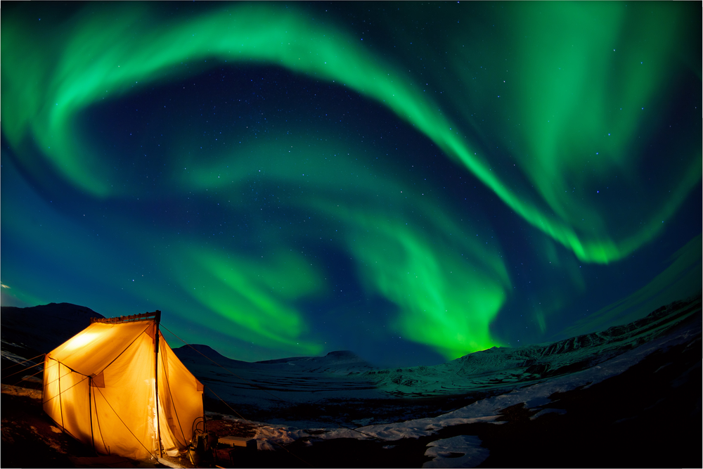 Camping out beneath Iceland's green Northern Lights