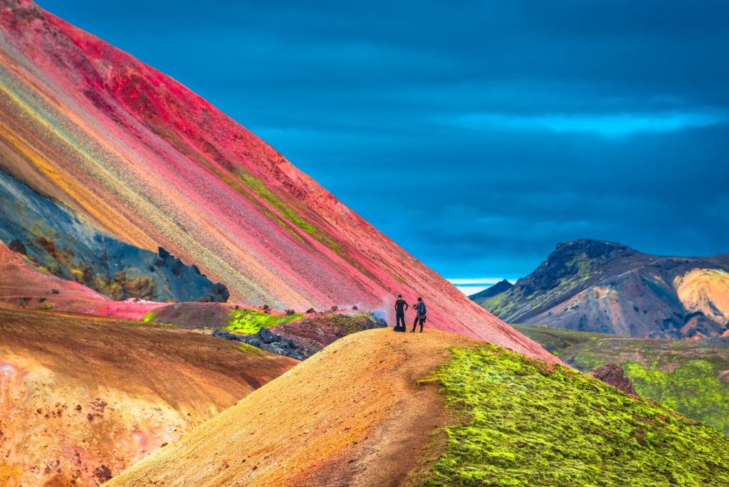 Colorful Rhyolite rock formations make Landmannalaugar a popular destination for hiking in Iceland