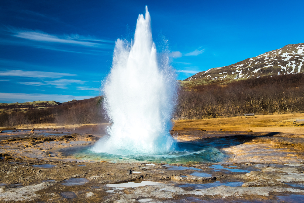 The powerful and explosive Strokkur geysir is part of your 5-day Iceland itinerary