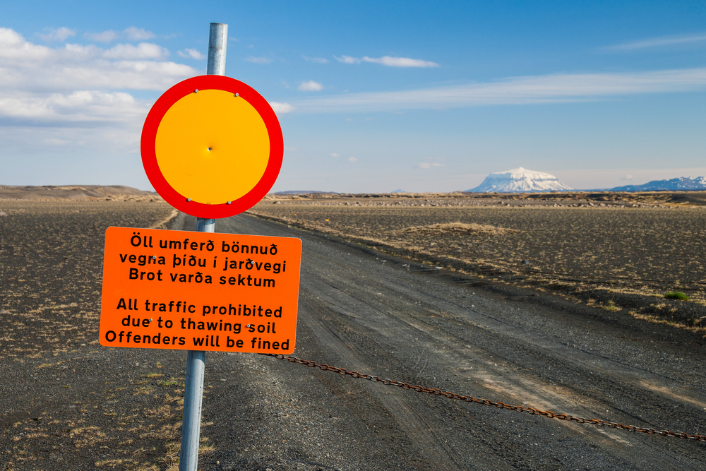 Road closure in Iceland; if you rent a car you need to be aware of which roads are open