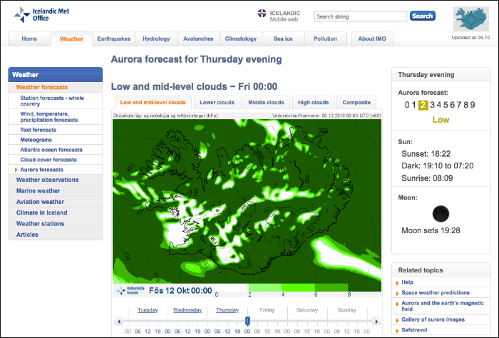 Aurora forecast from the Icelandic Meteorological Office