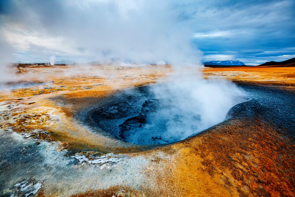 Hverir geothermal area is an alien-like, barren landscape with bubbling blue mud