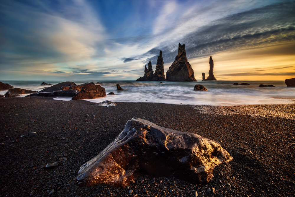Black sand beaches and volcanic rock formations at Reynisfjara, Vik, South Iceland