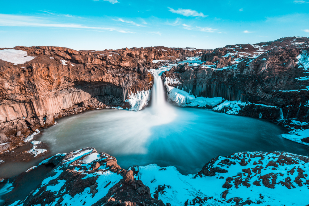December view of Aldeyjarfoss waterfall with clear winter weather