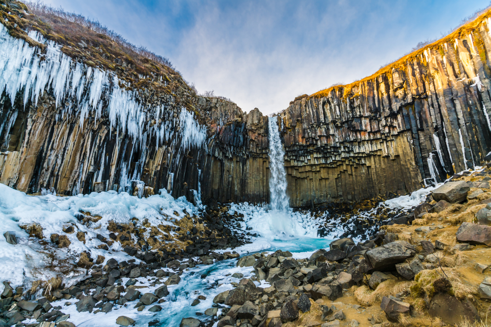 Icy November at Svartifoss in Skaftafell, Vatnajökull National Park