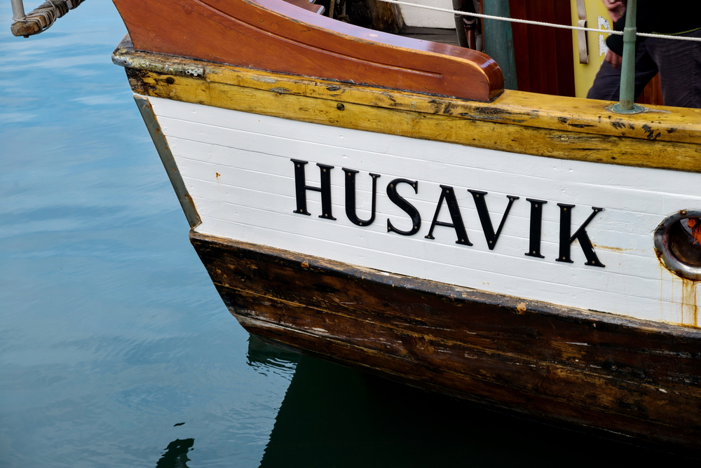 Wooden whale watching excursion boat in Húsavík, Iceland's whale watching capital