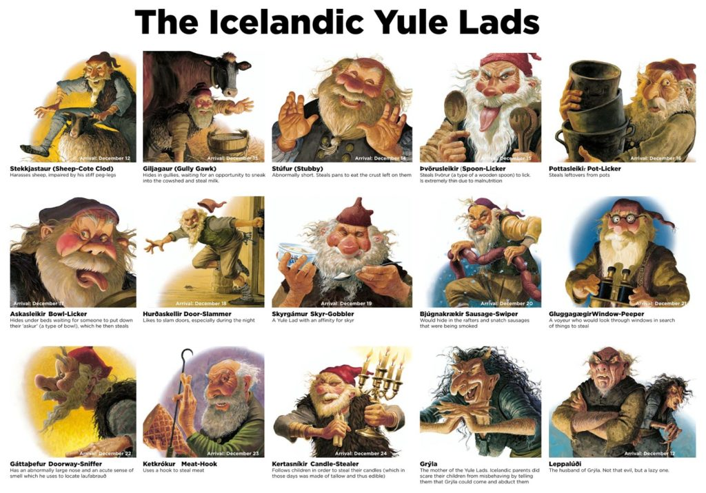 Iceland 13 Yule Lads with pictures and names