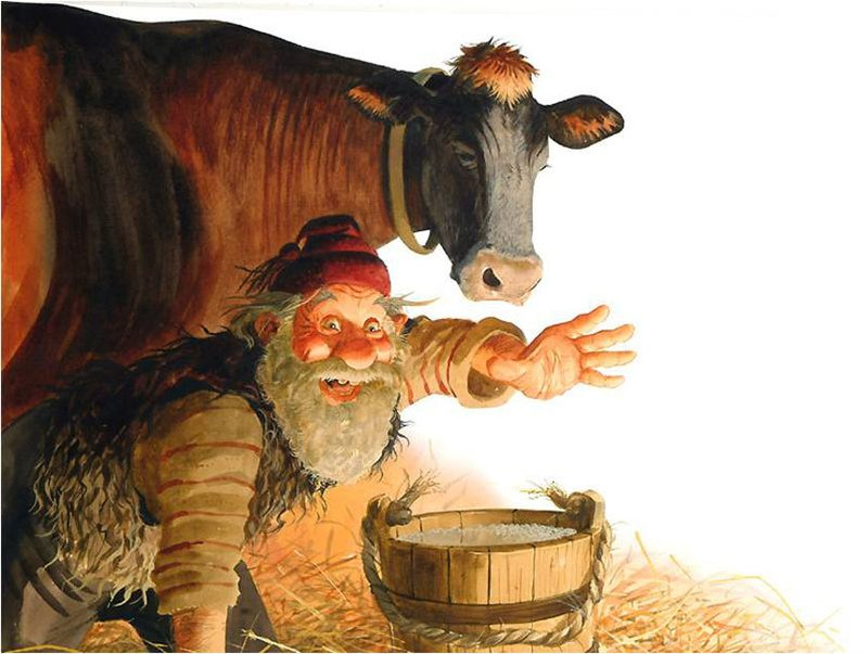 Iceland's Yule Lad Gully Gawk stealing cow's milk