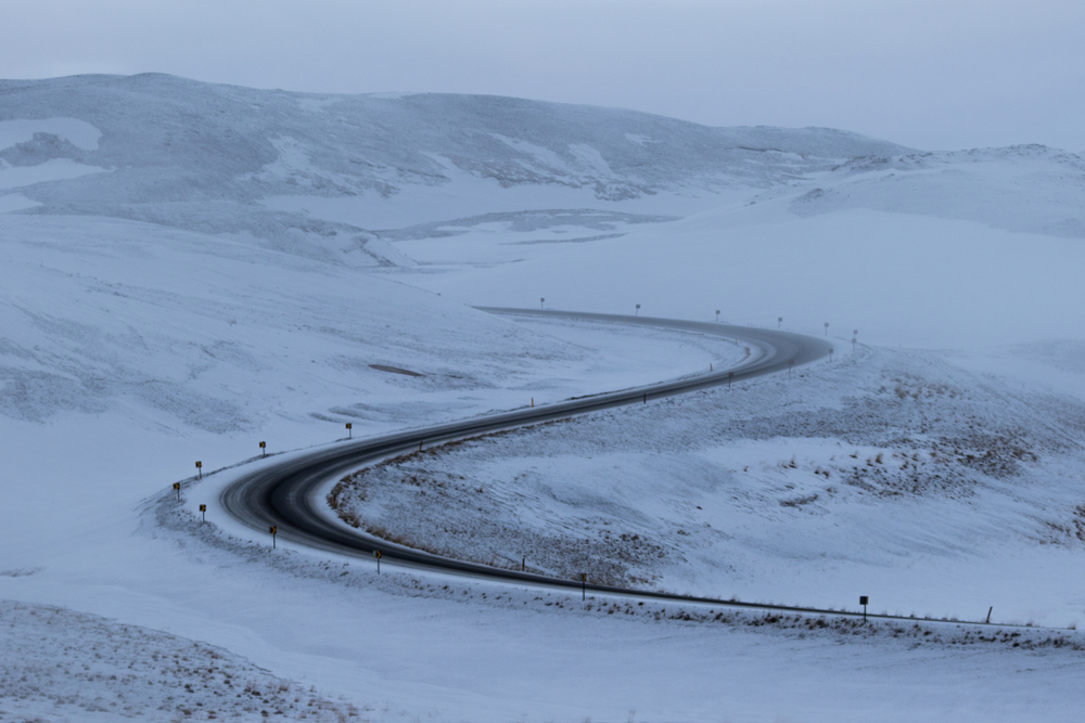Wintery weather conditions in December on Iceland's ring road (hringvegur) in Námaskarð, near Mývatn, North Iceland
