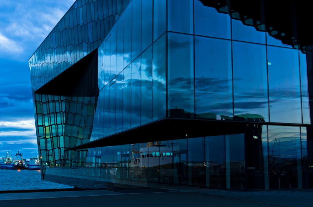 Reykjavik sightseeing: Harpa concert hall at twilight