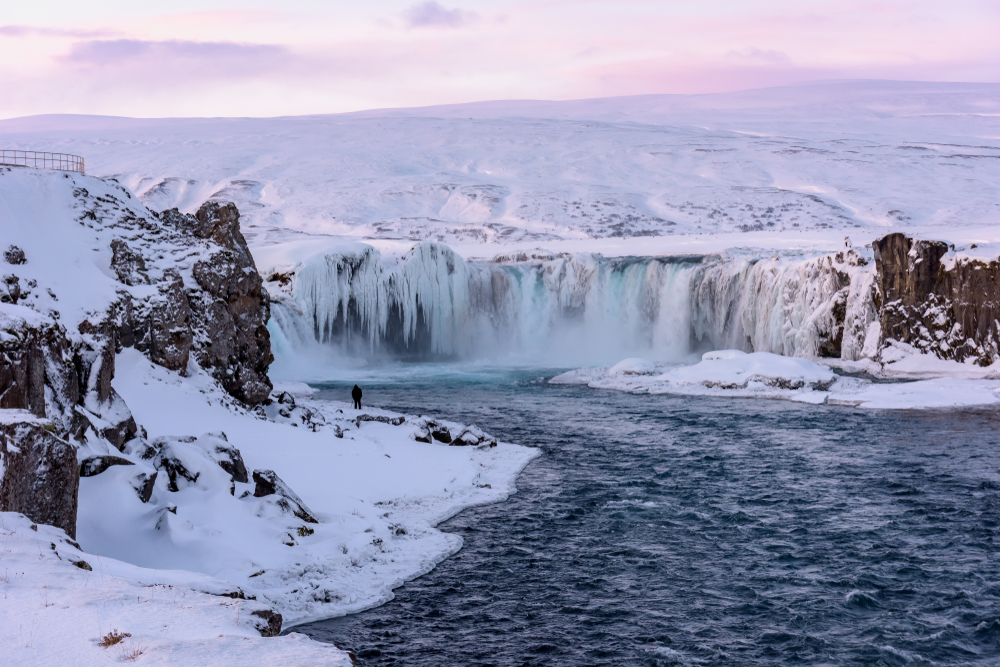Iceland's February weather means low temperatures and frozen waterfalls