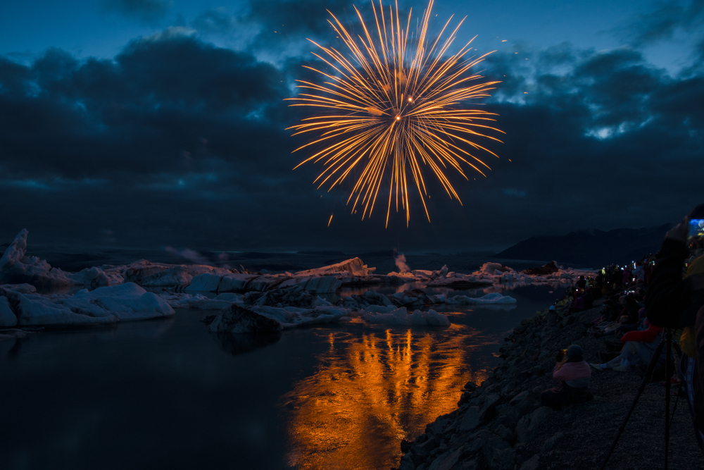 Jökulsárlón glacier lake fireworks in the summer in Iceland