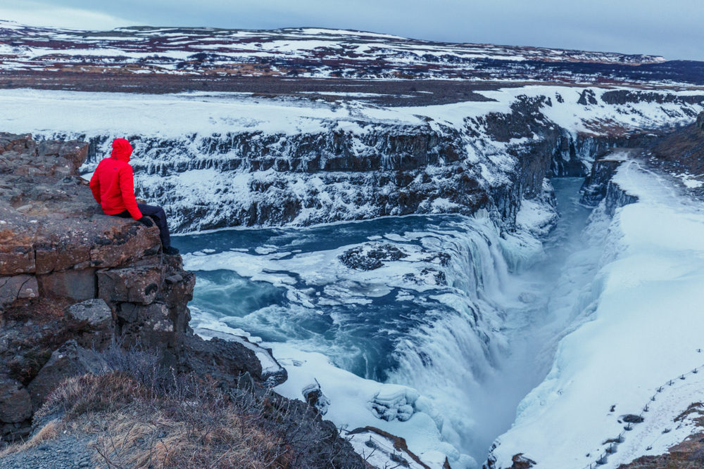 Iceland's March weather is a transition from winter to spring. Semi-frozen Gullfoss waterfall