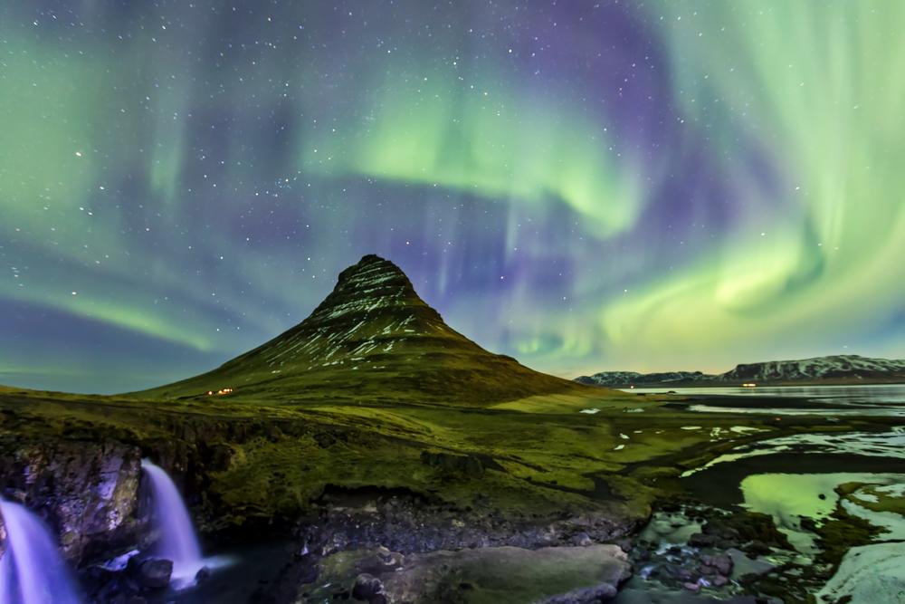 The Northern Lights over Kirkjufell mountain