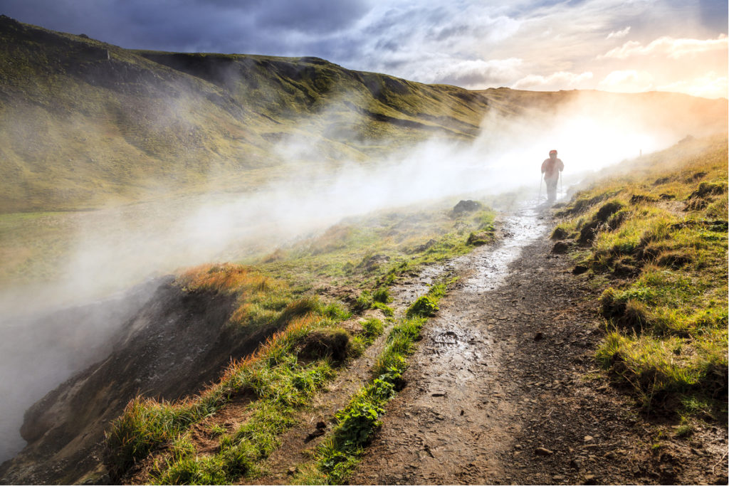 Reykjadalur hot river in Iceland hiking trail