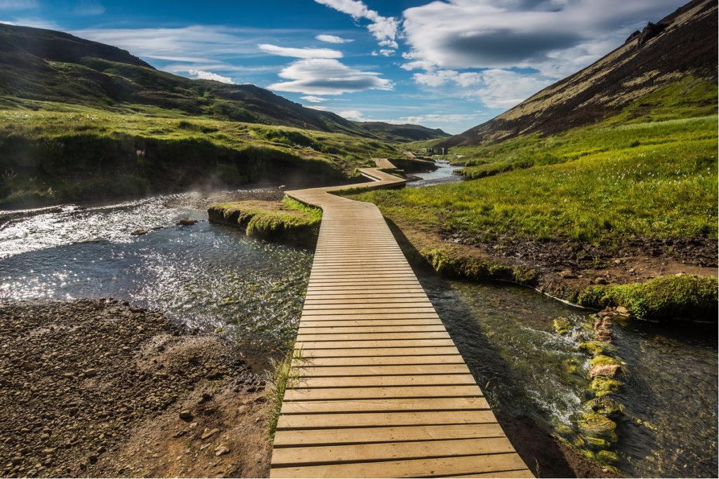Reykjadalur hot springs hiking trail path