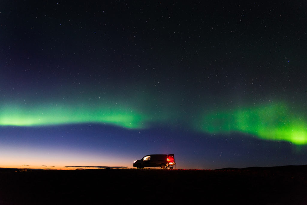 4x4 camper rental with Iceland's Northern Lights