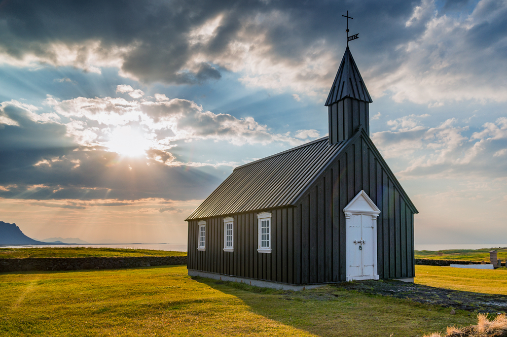 Budir black church is one of the prettiest churches in Iceland