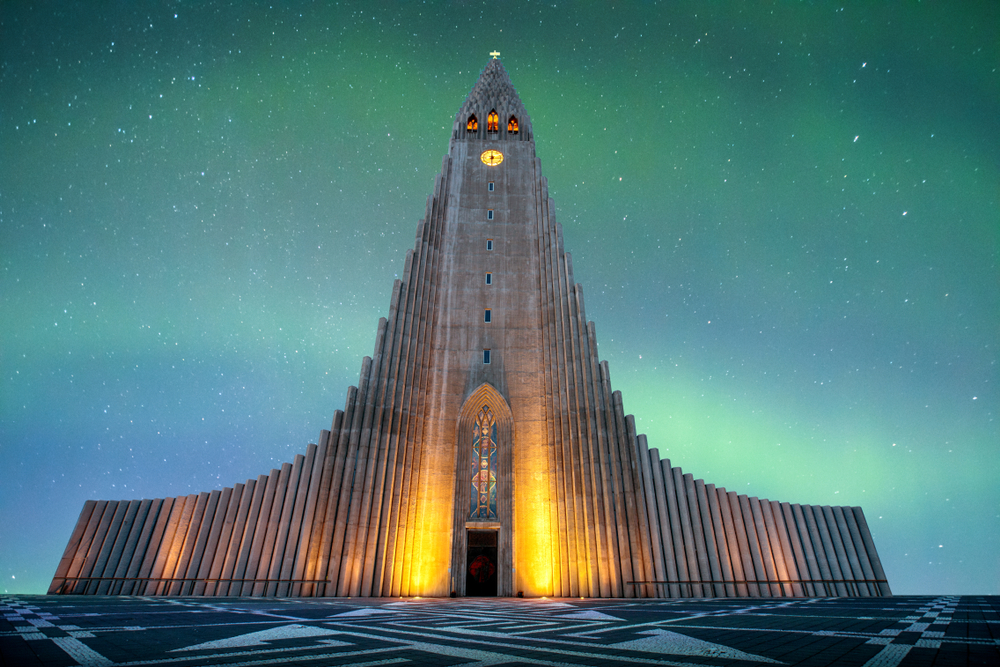 Hallgrímskirkja cathedral facade and Northern Lights