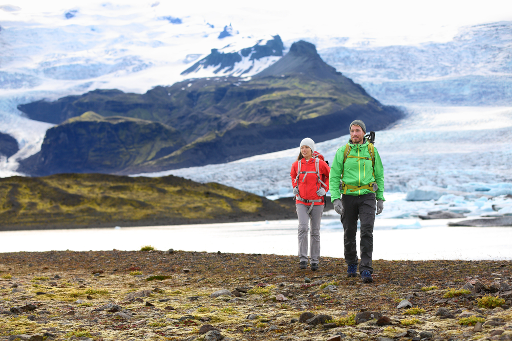 Iceland honeymoon couple on glacier hike